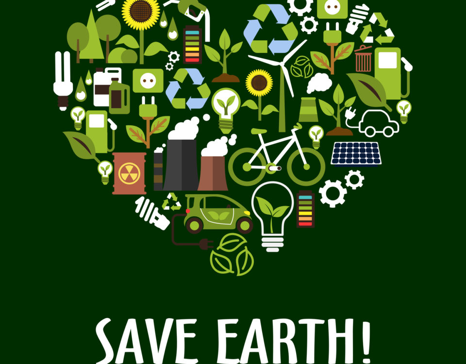 Heart with ecology, saving energy, recycling icons